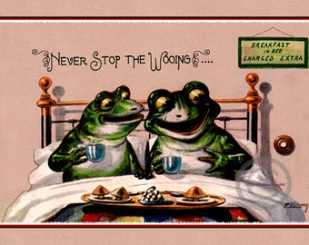 Whimsical Frog Romance Print, Frogs at bed and breakfast, Never stop the Wooing, Frogs in bed, Motto Quote, Giclee Art Print, 8x12, 1920s