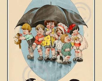 Art Deco Children's Print, Charles Twelvetree's, April Showers,  Kids and pets under umbrella, wall decor, Giclee Art Print, 11x14, 1920's