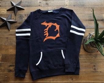 Michigan D Womens Varsity Fleece Crew Sweatshirt