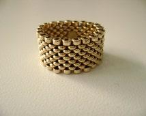14k yellow gold mesh ring, woven ring, Size 7 1/4, 14k gold mesh band, 14k yellow gold mesh ring, flexible mesh band, 14 karat yellow gold