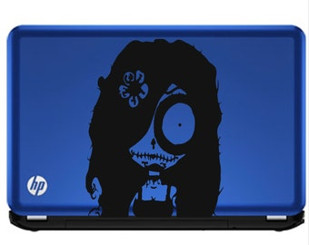 Goth Girl Decal // sticker // wall art // day of the dead // laptop skin // car graphics // room decor // emo goth gothic metal AA06