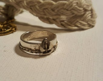 Nautical band ring/ Sailboat sterling silver ring