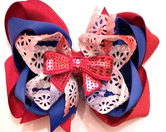 4th of July Bow , Red White and Blue Bow , Patriotic Hair Bow , 5 Inch Hair Bow , Memorial Day