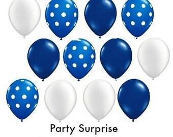 "Navy Blue Balloons 36"" 16"" 11"" 5"" wedding photo polka dot baby shower bridal birthday bar mitzvah nautical blue navy balloons"