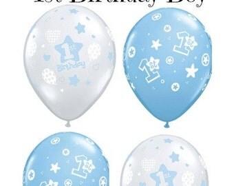 1st Birthday Boy Balloons Baby Boy 1st Birthday Party Balloons Blue Clear Number 1 Birthday Balloons