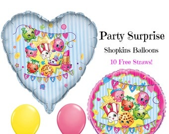 Shopkins Balloons Kids Birthday Party Free Paper Straws Shopkins Decoration Balloons
