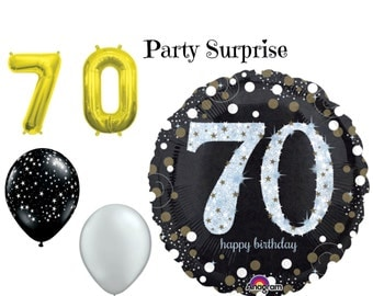 70th Birthday Party Balloons 70 Birthday Black Gold Silver Birthday Balloons 70th anniversary balloons