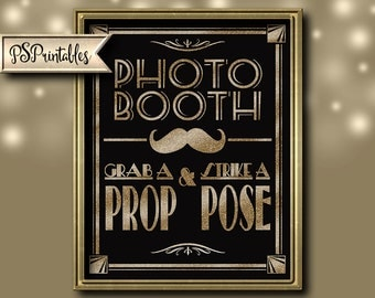 Printable Photo Booth -Art Deco Great Gatsby 1920's wedding theme - instant download digital file - DIY - black and glitter gold