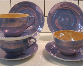3-1/2 Sets Midcentury Lustreware teacup & saucer duos - Peach lustreware - Blue lustreware - Japan- Plus 2 extra saucers