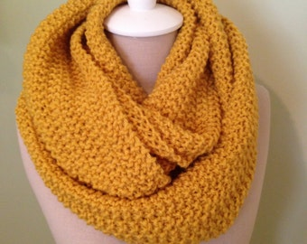 Infinity Scarf in Mustard and Cream Thread