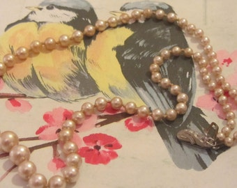 vintage Silver PEARL necklace, Vintage cream bronze pearls , Graduated single  pearl necklace , Single strand pearls, pearl earrings free