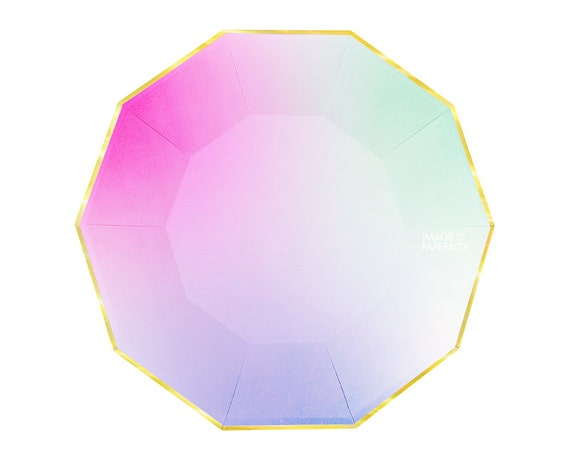Toot Sweet Ombre Large Paper Plates by Meri Meri Modern Chic Pastel Rainbow Plates Hexagon / Light Pink Mint Green Yellow Gold Foil Easter from ...  sc 1 st  Etsy Studio & Toot Sweet Ombre Large Paper Plates by Meri Meri Modern Chic ...