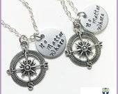 No Matter Where Best Friend Necklace Set, 2 Best Friend Necklace, Sisters Necklace, Couple Necklaces, Personalized Necklace, 4 best friend