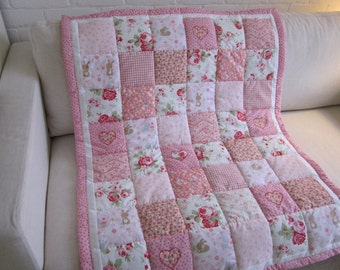 Handmade  Patchwork Quilt with appliqued Hearts