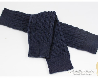 STORE CLOSING SALE Women Knitted Leg Warmers Boot Toppers in Dark Blue