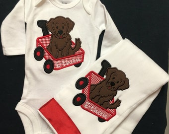 Baby Boy Baby Girl Appliqued Puppy Wagon Bodysuit Matching Burp Cloth Personalized  Bodysuit Baby Boy Baby Girl Dog and Wagon Gift set