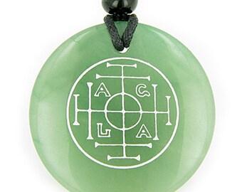 Fortune, Wealth and Success Talisman Green Quartz Magic Pendant Necklace