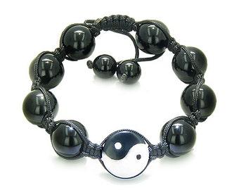 Amulet Yin Yang Black Agate White Quartz Gemstones Lucky Charm