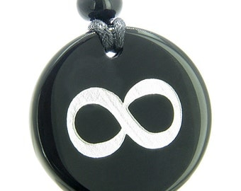 Amulet Eternity and Infinity Possibilities Magic Black Agate Pendant Necklace