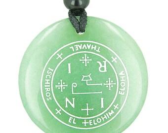 Sigil of the Archangel Thavael Magical Amulet Green Quartz Pendant Necklace