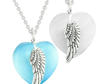 Amulets Angel Wing Hearts Love Couples or Best Friends White and Sky Blue Simulated Cats Eye Necklaces