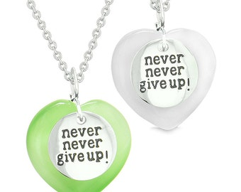 Amulets Never Give Up Love Couples or Best Friends Hearts Neon Green White Simulated Cats Eye Necklaces