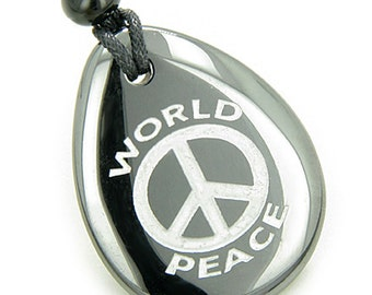 Lucky World Peace Amulet Hematite Wish Stone Pendant Necklace