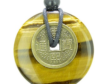 Lucky Coin Evil Eye Protection Powers Amulet Tiger Eye 40mm Donut Pendant Necklace