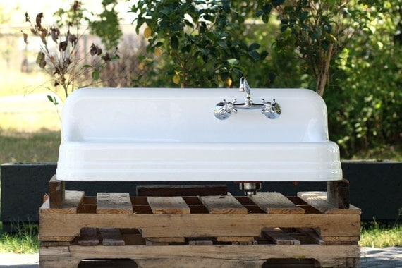 refinished 43 cast iron farm sink 1935 drainboard by readytore. Black Bedroom Furniture Sets. Home Design Ideas