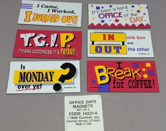 Vintage Office Days Magnet Set of 6 Funny Sayings Work Humor Gift