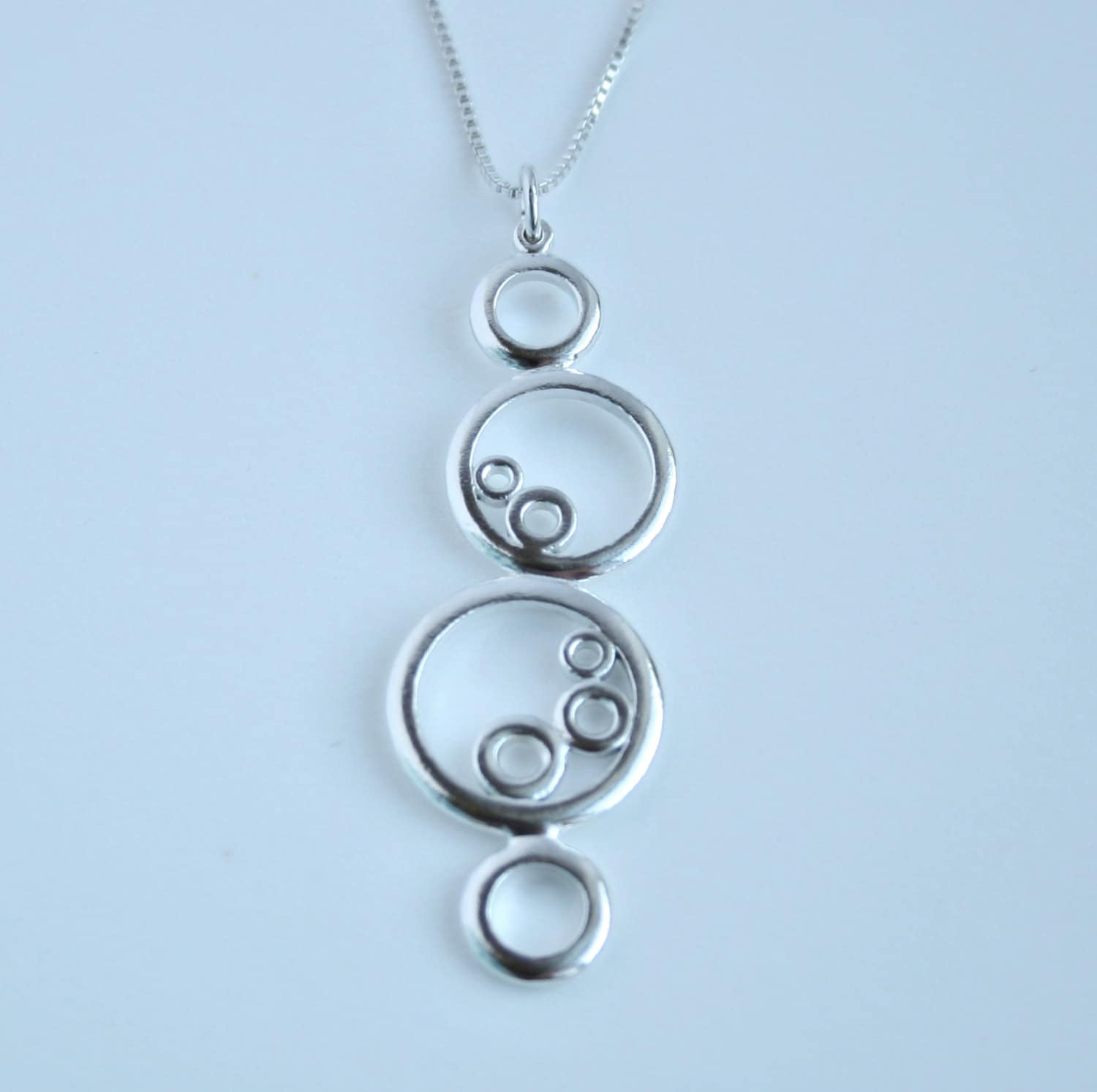 circle necklace sterling silver nine circles jewelry unique