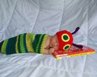 The very hungry caterpillar (inspired) hat and cocoon