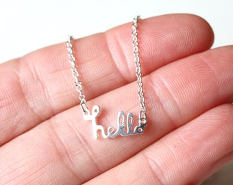 Hello Necklace, Simple Silver Charm necklace, Layering friendship  jewellery