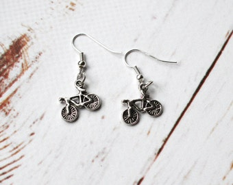 Bike Earrings, Bicycle jewellery, silver charm earrings