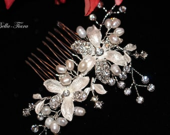 pearl ivory bridal hair comb, wedding crystal hair comb,  pearl wedding ivory comb, wedding hair accessory, bridal comb