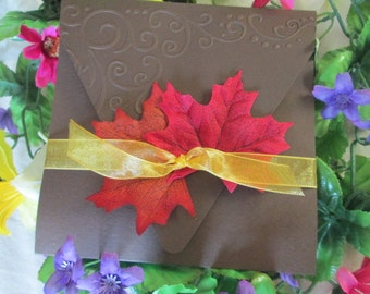 Falling Leaves Autumn Pocket  invitation with envelope includes response card  with envelope and reception card