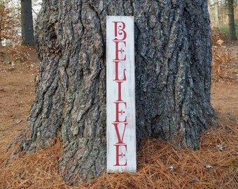 Large Distressed Believe Wooden Christmas Sign, Primitive Christmas Sign, Rustic Holiday Sign, Christmas Wall Hanging