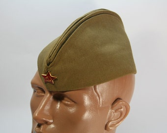 Soviet Russian garrison cap of the soldier of the Soviet Army, 1984
