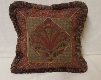 "15""x15"" Decorative Multi-pattern Pillow Cover with Fringe & Cordette"