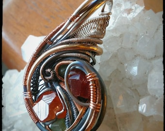 Wire Wrapped Garnet Pendant! w/ Silver and Gold fill