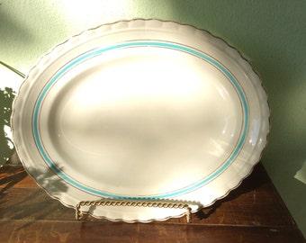 J & G Meakin blue ribbon platter, scalloped edged gold trim serving platter, vintage shabby chic style