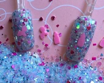 Nail Art Acrylic Gel Glitter mix   It's A Girl