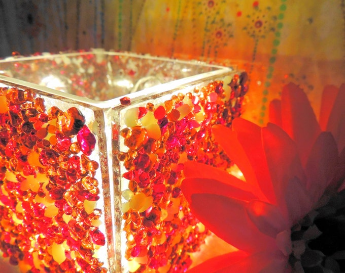 Coral red translucent fused glass light, candle tealight holder, planter, cuttlery napkin holder. Ornamental gift. Wedding anniversary ideas