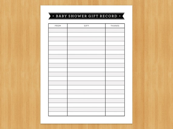 wedding shower gift list template - printable baby shower gift record list list of gifts