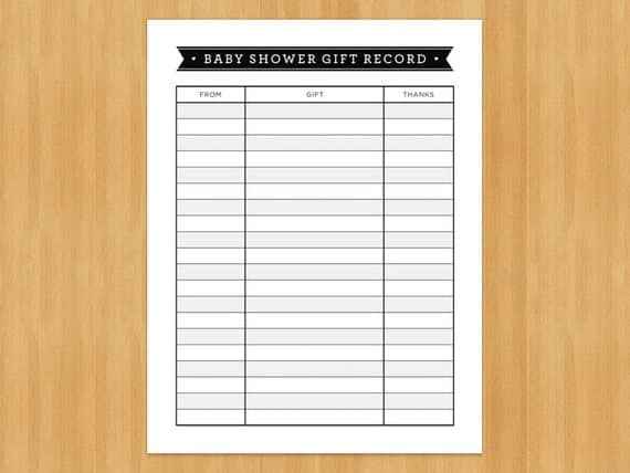 Bridal Shower Gift Record Template : Printable Baby Shower Gift Record List, List of Gifts Received, DIY ...