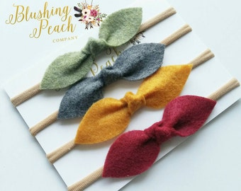 Set of 4 - Felt Knot Bows - Fall -Autumn - Nylon Headband - One Size Fit All - Photo Props - Baby Headband - Infant  - Baby Bows