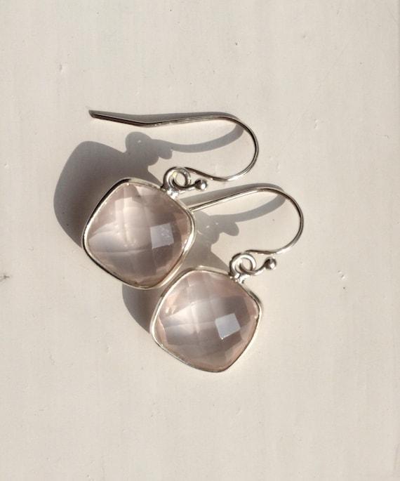 Cushioncut, pink chalcedony earrings on sterling silver hooks