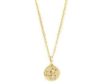Lunetta - 14kt Gold Pendant with white diamonds - solid gold circle necklace