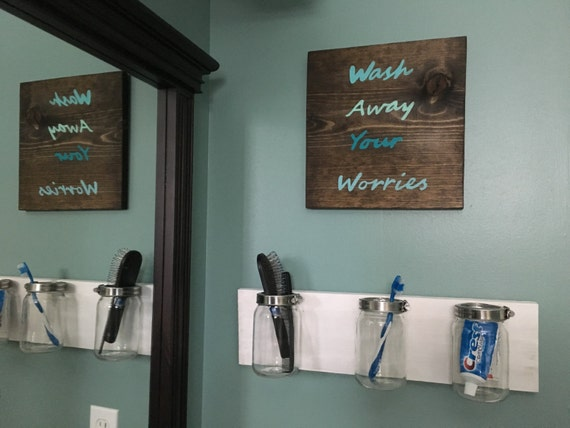Wash away your worries bathroom sign laundry room sign for Space themed bathroom accessories