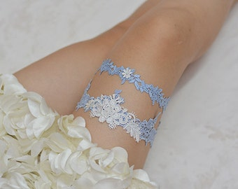 blue bridal garter set, wedding garter set,rhinestone bride garter, lace garter, something blue garter,bridal pearl beaded lace garter set